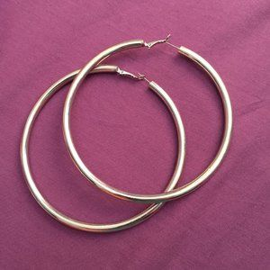 "Large Chunky Silver 4"" Hoop Earrings"